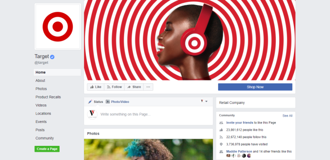 Target Facebook page