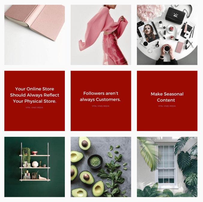 Vital Vines Media Instagram theme grid