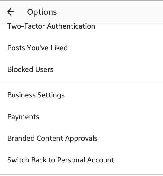 Instagram profile business switch